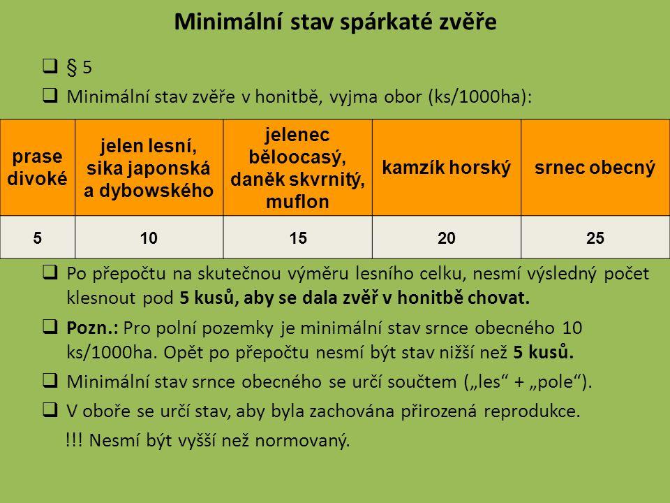 Minimální stav spárkaté zvěře  § 5  Minimální stav zvěře v honitbě, vyjma obor (ks/1000ha):  Po přepočtu na skutečnou výměru lesního celku, nesmí výsledný počet klesnout pod 5 kusů, aby se dala zvěř v honitbě chovat.