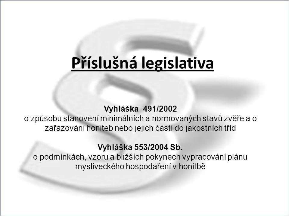 Příslušná legislativa Vyhláška 491/2002 o způsobu stanovení minimálních a normovaných stavů zvěře a o zařazování honiteb nebo jejich částí do jakostních tříd Vyhláška 553/2004 Sb.