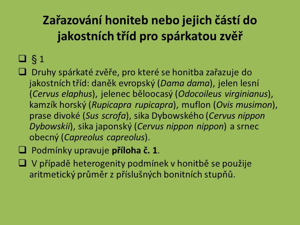  § 1  Druhy spárkaté zvěře, pro které se honitba zařazuje do jakostních tříd: daněk evropský (Dama dama), jelen lesní (Cervus elaphus), jelenec běloocasý (Odocoileus virginianus), kamzík horský (Rupicapra rupicapra), muflon (Ovis musimon), prase divoké (Sus scrofa), sika Dybowského (Cervus nippon Dybowskii), sika japonský (Cervus nippon nippon) a srnec obecný (Capreolus capreolus).