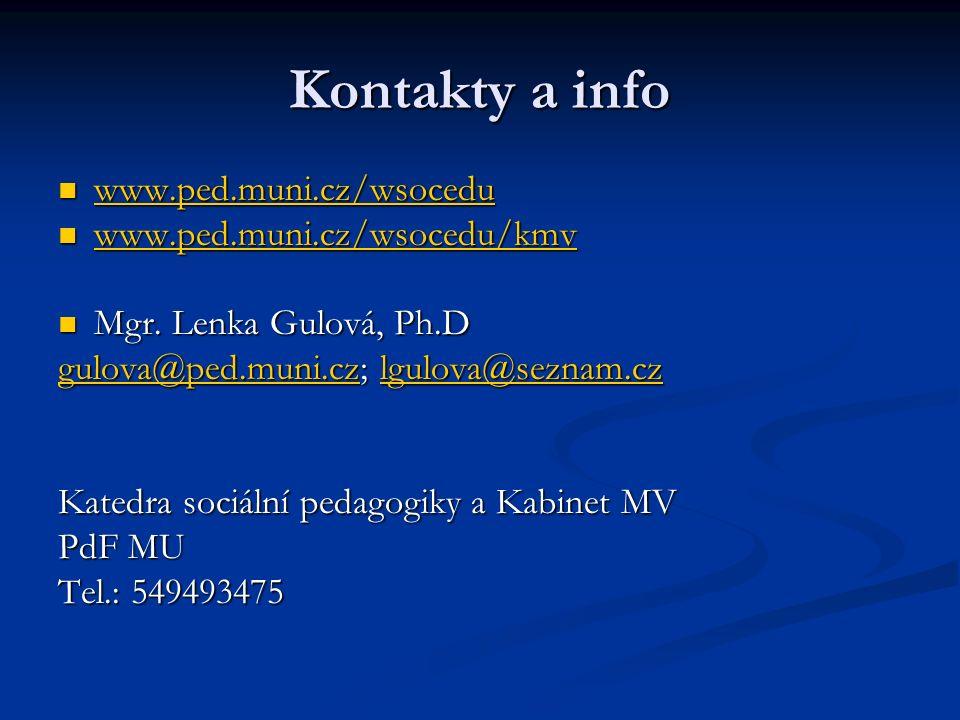 Kontakty a info www.ped.muni.cz/wsocedu www.ped.muni.cz/wsocedu www.ped.muni.cz/wsocedu www.ped.muni.cz/wsocedu/kmv www.ped.muni.cz/wsocedu/kmv www.ped.muni.cz/wsocedu/kmv Mgr.