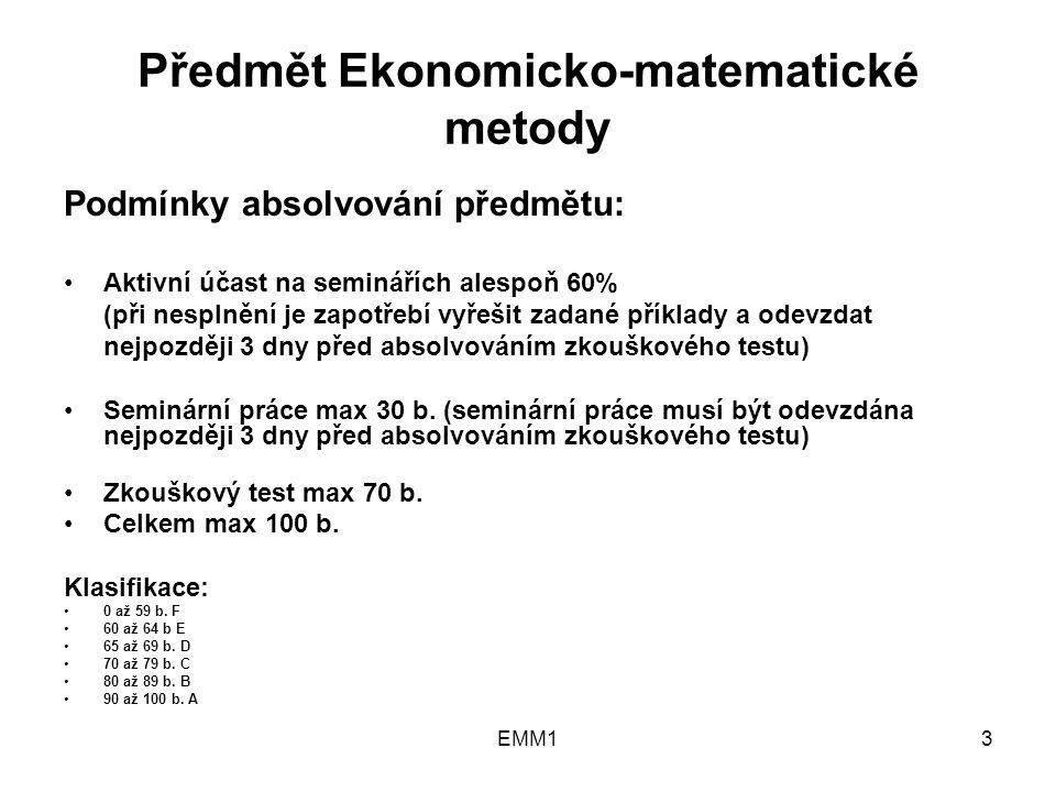 EMM124 Grafické znázornění podmínky: 0,5 x 2  100, (x 1  0, x 2  0)