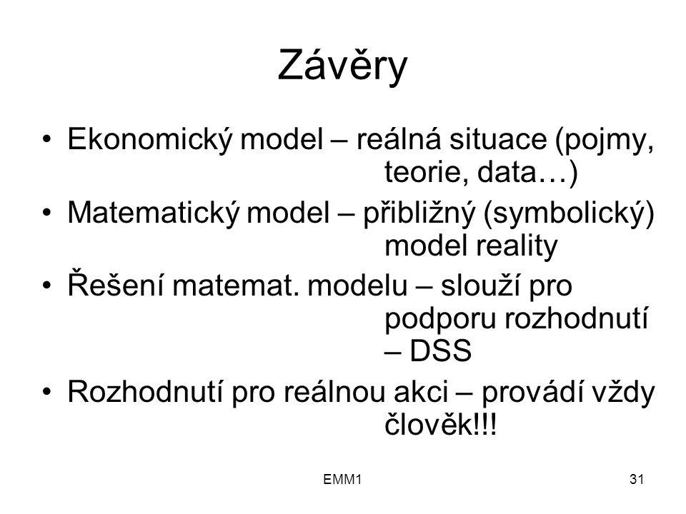 EMM131 Závěry Ekonomický model – reálná situace (pojmy, teorie, data…) Matematický model – přibližný (symbolický) model reality Řešení matemat.