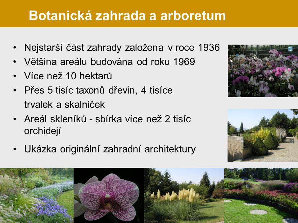 Nejstarší část zahrady založena v roce 1936 Většina areálu budována od roku 1969 Více než 10 hektarů Přes 5 tisíc taxonů dřevin, 4 tisíce trvalek a skalniček Areál skleníků - sbírka více než 2 tisíc orchidejí Ukázka originální zahradní architektury Botanická zahrada a arboretum