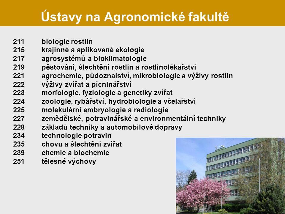 Ústavy na Agronomické fakultě 211biologie rostlin 215krajinné a aplikované ekologie 217agrosystémů a bioklimatologie 219pěstování, šlechtění rostlin a rostlinolékařství 221agrochemie, půdoznalství, mikrobiologie a výživy rostlin 222výživy zvířat a pícninářství 223morfologie, fyziologie a genetiky zvířat 224zoologie, rybářství, hydrobiologie a včelařství 225molekulární embryologie a radiologie 227zemědělské, potravinářské a environmentální techniky 228základů techniky a automobilové dopravy 234technologie potravin 235chovu a šlechtění zvířat 239chemie a biochemie 251tělesné výchovy