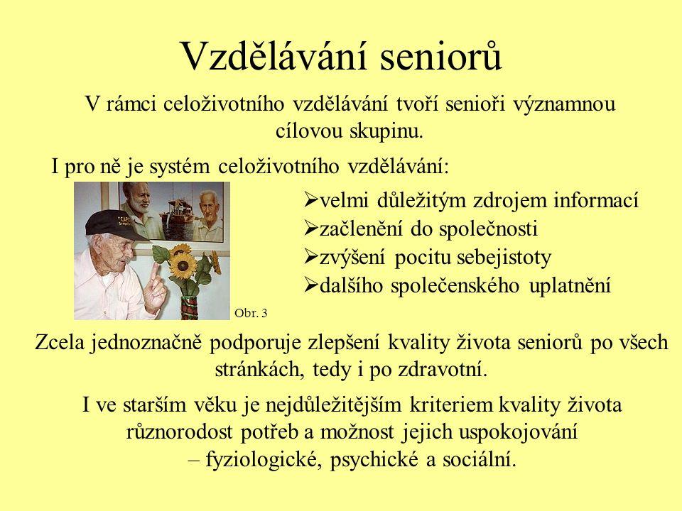 Vzdělávání seniorů V rámci celoživotního vzdělávání tvoří senioři významnou cílovou skupinu.