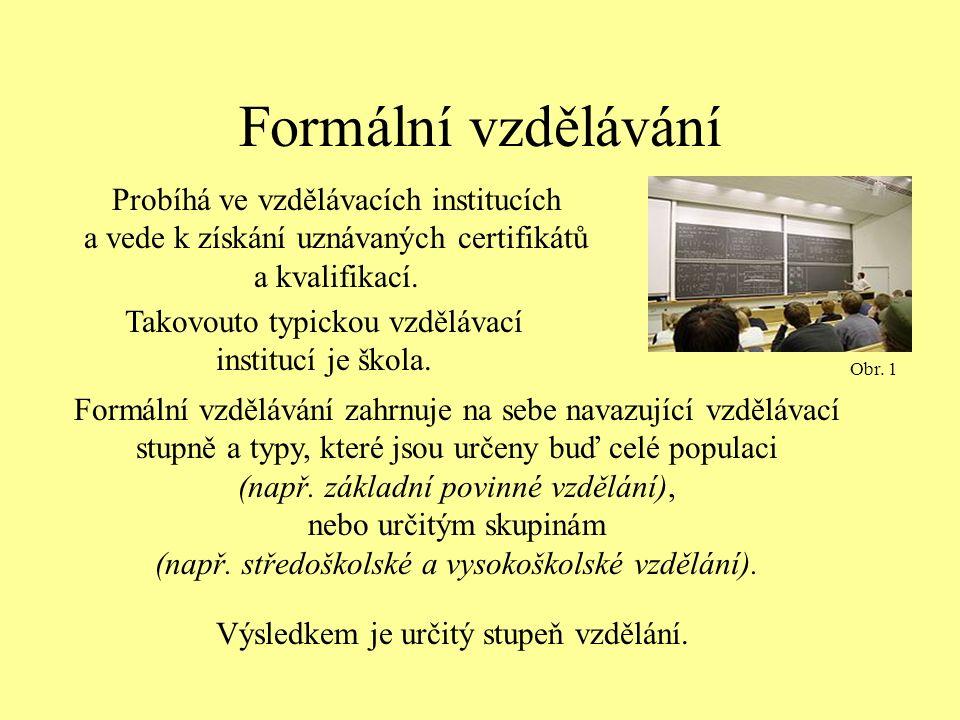 Formální vzdělávání Probíhá ve vzdělávacích institucích a vede k získání uznávaných certifikátů a kvalifikací.