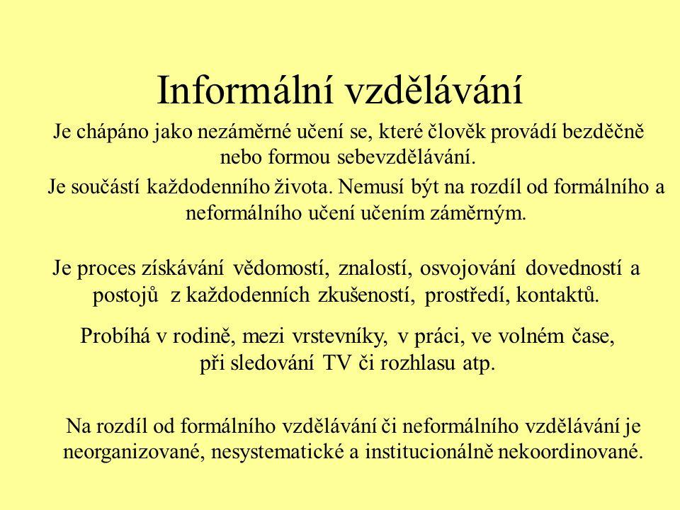 Informální vzdělávání Je součástí každodenního života.