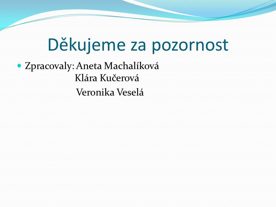 Děkujeme za pozornost Zpracovaly: Aneta Machalíková Klára Kučerová Veronika Veselá