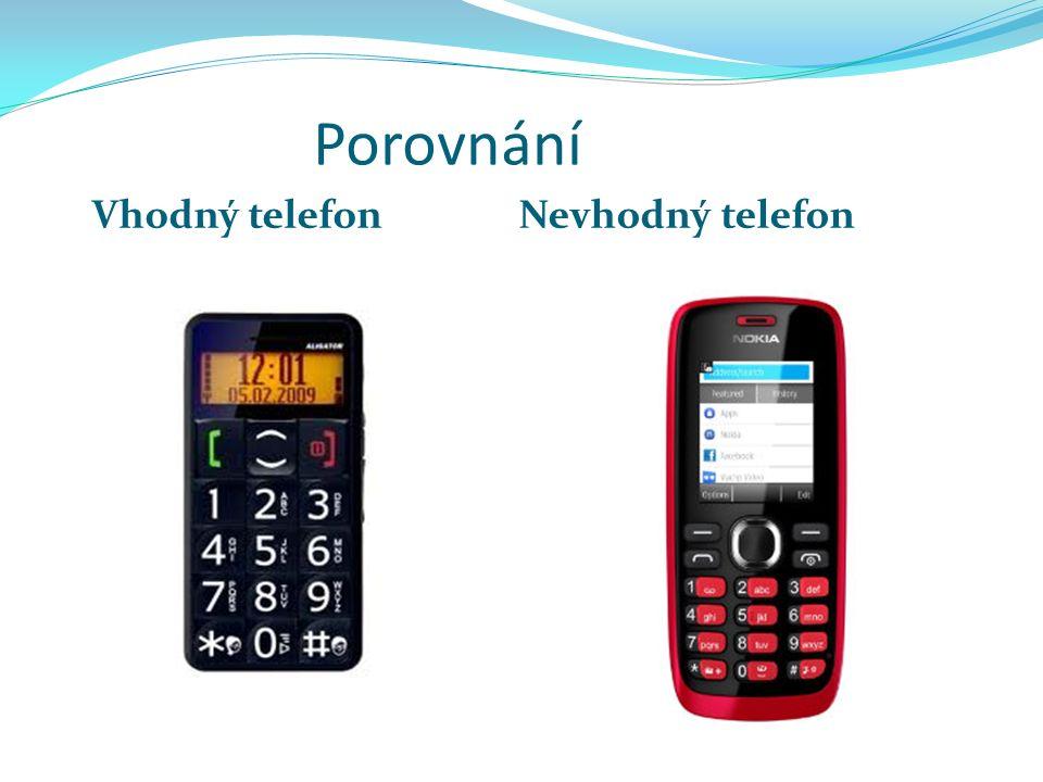 Porovnání Vhodný telefonNevhodný telefon