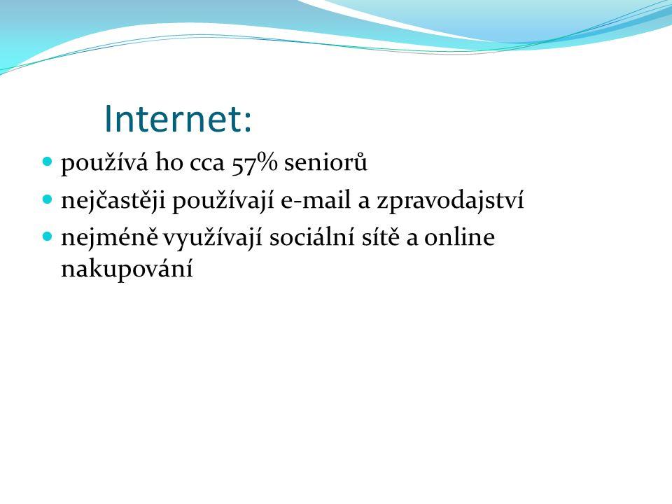 Internet: používá ho cca 57% seniorů nejčastěji používají e-mail a zpravodajství nejméně využívají sociální sítě a online nakupování