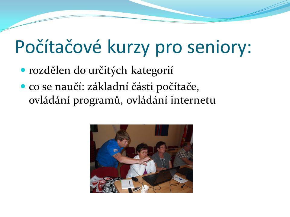 Počítačové kurzy pro seniory: rozdělen do určitých kategorií co se naučí: základní části počítače, ovládání programů, ovládání internetu