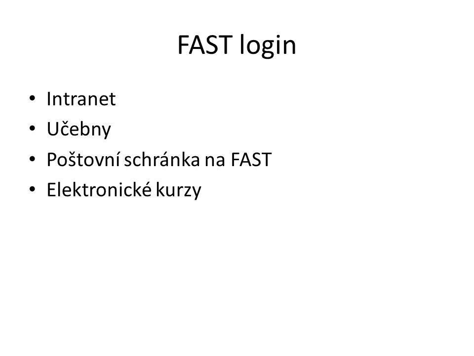 FAST login Intranet Učebny Poštovní schránka na FAST Elektronické kurzy