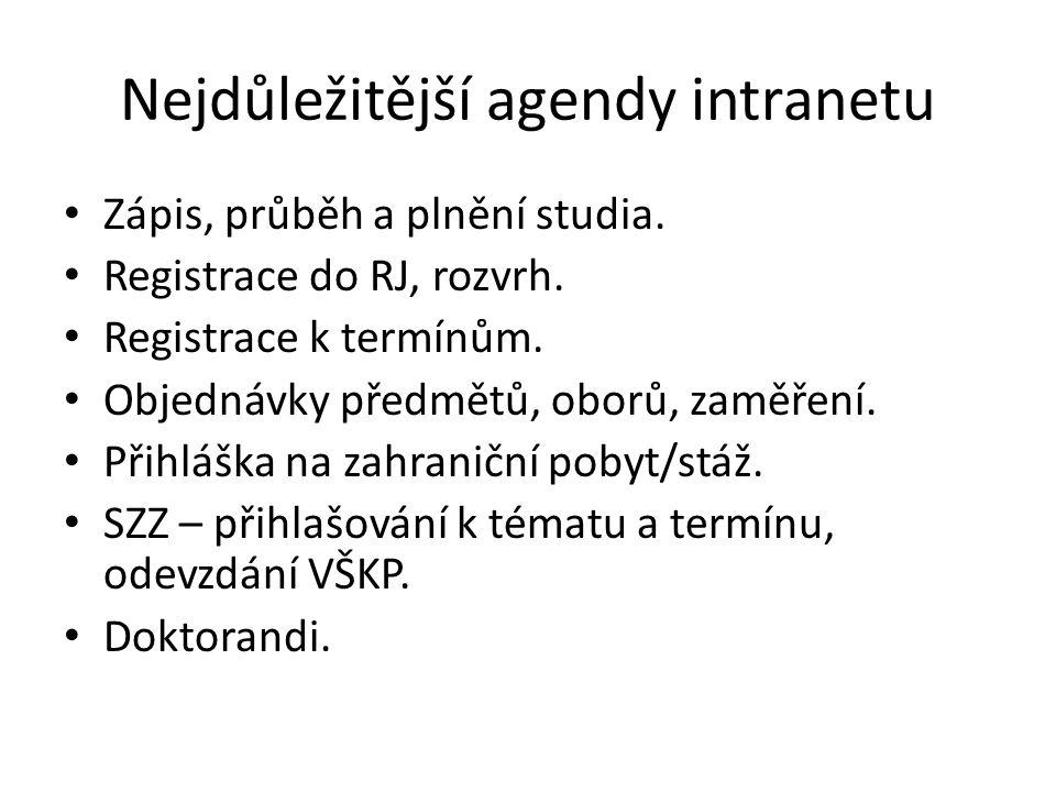 Nejdůležitější agendy intranetu Zápis, průběh a plnění studia.