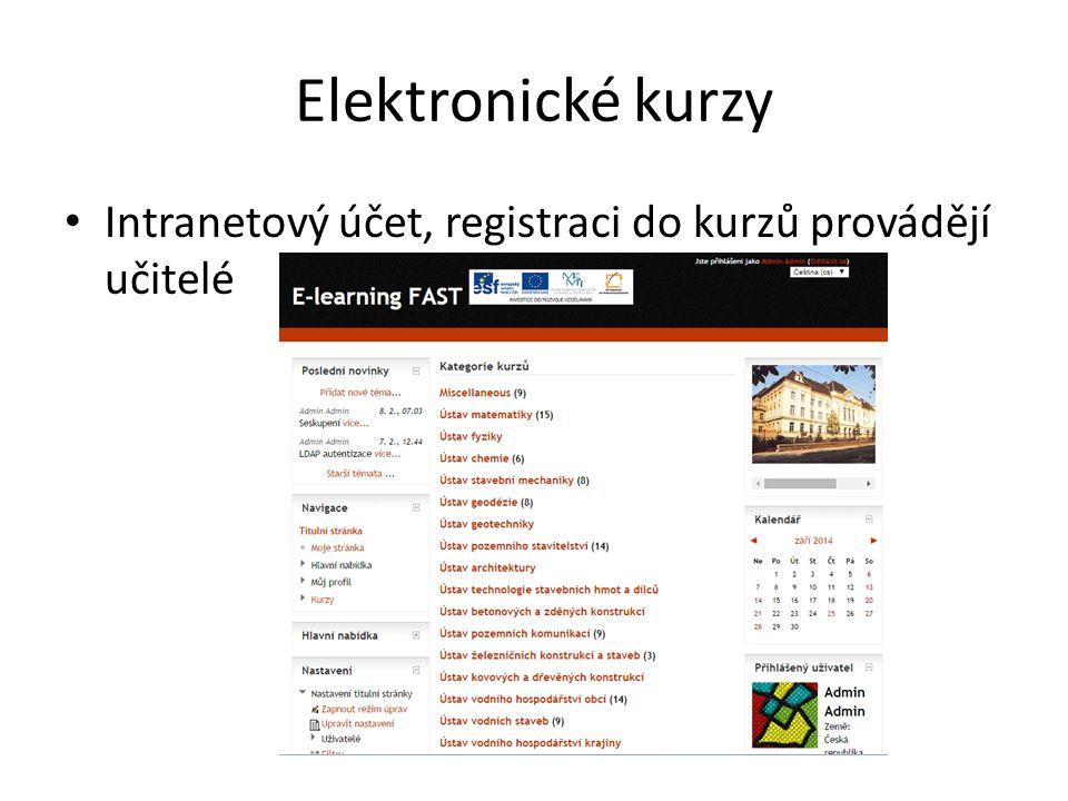 Elektronické kurzy Intranetový účet, registraci do kurzů provádějí učitelé
