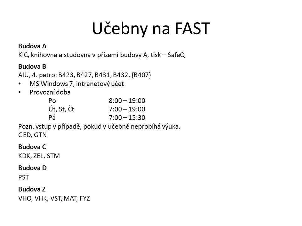 Síťové služby a zdroje Web fakulty – http://www.fce.vutbr.czhttp://www.fce.vutbr.cz Portál VUT – http://www.vutbr.czhttp://www.vutbr.cz Intranet – https://intranet.study.fce.vutbr.czhttps://intranet.study.fce.vutbr.cz – Vše související se studiem Elektronické kurzy – http://moodle.fce.vutbr.cz http://moodle.fce.vutbr.cz – http://lms.fce.vutbr.cz http://lms.fce.vutbr.cz Elektronická pošta – OWA – http://email.study.fce.vutbr.czhttp://email.study.fce.vutbr.cz Cloudy – Office 365, http://office365.vutbr.czhttp://office365.vutbr.cz – Google Apps, https://www.vutbr.cz/cvis/google-appshttps://www.vutbr.cz/cvis/google-apps