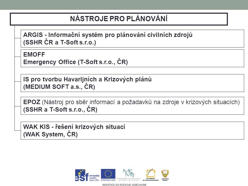 NÁSTROJE PRO PLÁNOVÁNÍ ARGIS - Informační systém pro plánování civilních zdrojů (SSHR ČR a T-Soft s.r.o.) EMOFF Emergency Office (T-Soft s.r.o., ČR) IS pro tvorbu Havarijních a Krizových plánů (MEDIUM SOFT a.s., ČR) EPOZ (Nástroj pro sběr informací a požadavků na zdroje v krizových situacích) (SSHR a T-Soft s.r.o., ČR) WAK KIS - řešení krizových situací (WAK System, ČR)