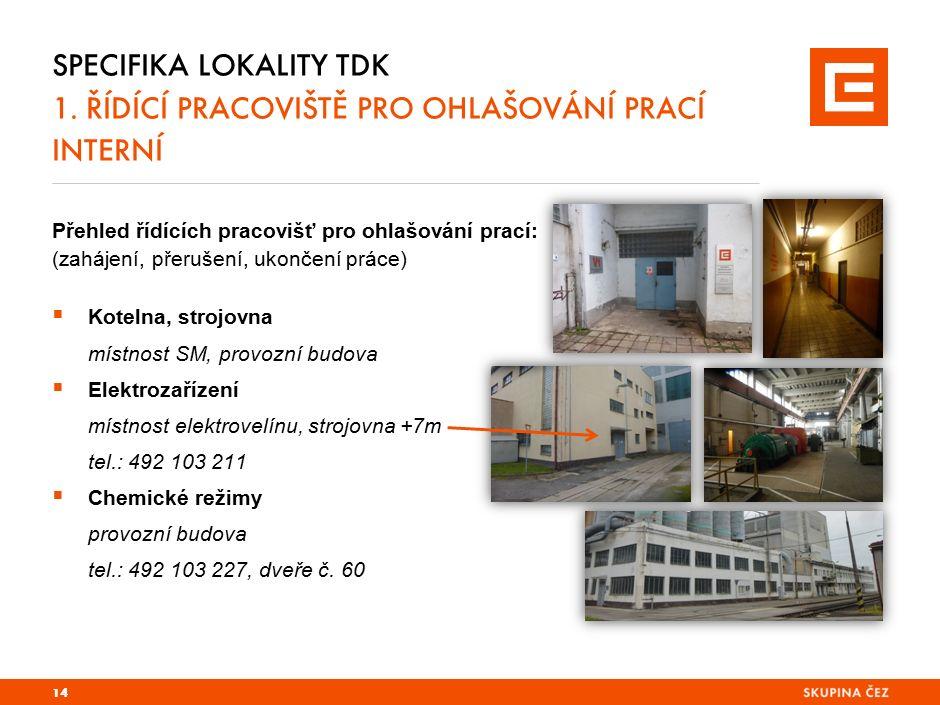 Přehled řídících pracovišť pro ohlašování prací: (zahájení, přerušení, ukončení práce)  Kotelna, strojovna místnost SM, provozní budova  Elektrozaří