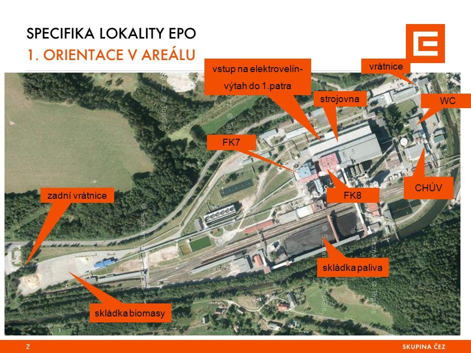 SPECIFIKA LOKALITY EPO 1. ORIENTACE V AREÁLU 2 vrátnice strojovna FK8 FK7 CHÚV skládka paliva vstup na elektrovelín- výtah do 1.patra WC skládka bioma