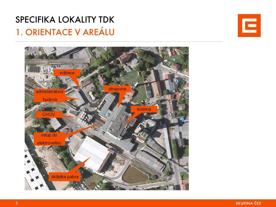 SPECIFIKA LOKALITY TDK 1. ORIENTACE V AREÁLU 3 vrátnice administrativní budova strojovna kotelna skládka paliva vstup do elektrovelínu CHÚV