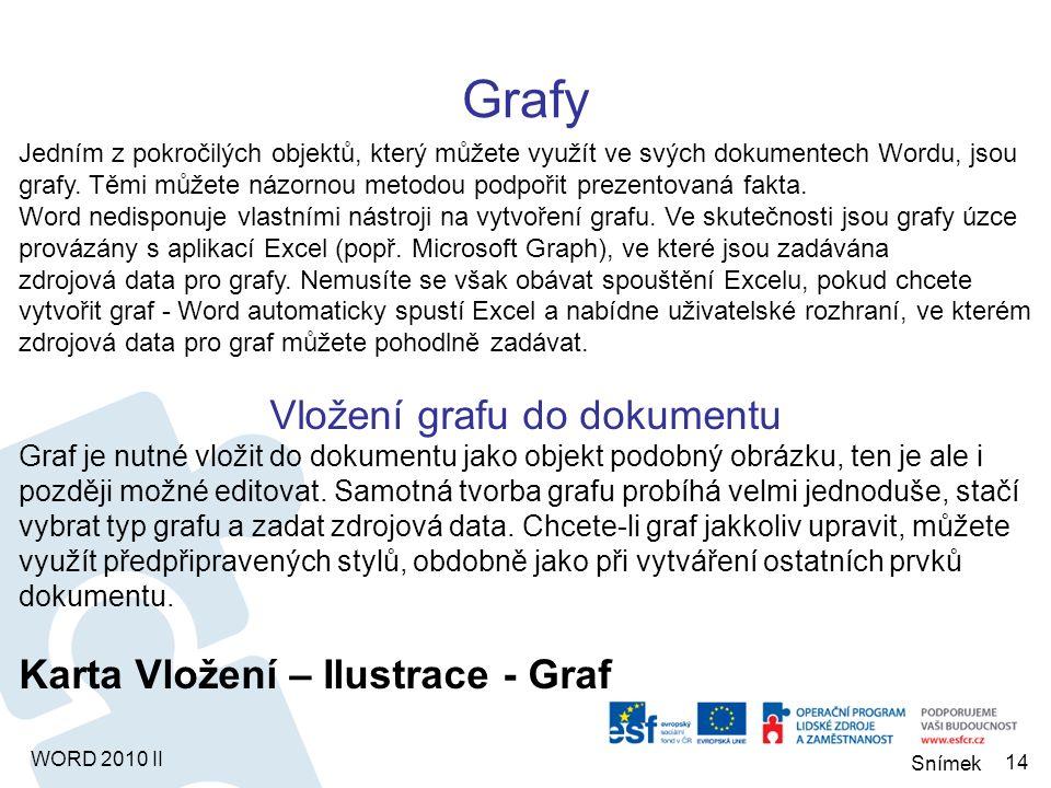 WORD 2010 II Praktické příklady Vložení obrázku Nový dokument, vložit 5 obr.