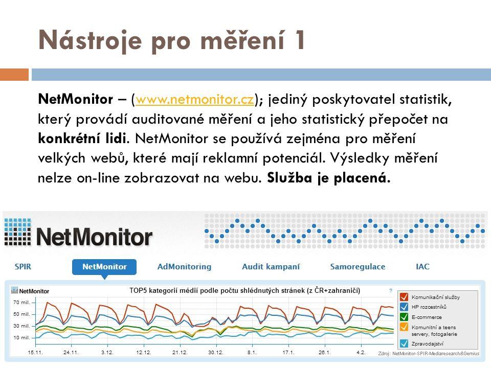 Nástroje pro měření 1 NetMonitor – (www.netmonitor.cz); jediný poskytovatel statistik, který provádí auditované měření a jeho statistický přepočet na konkrétní lidi.