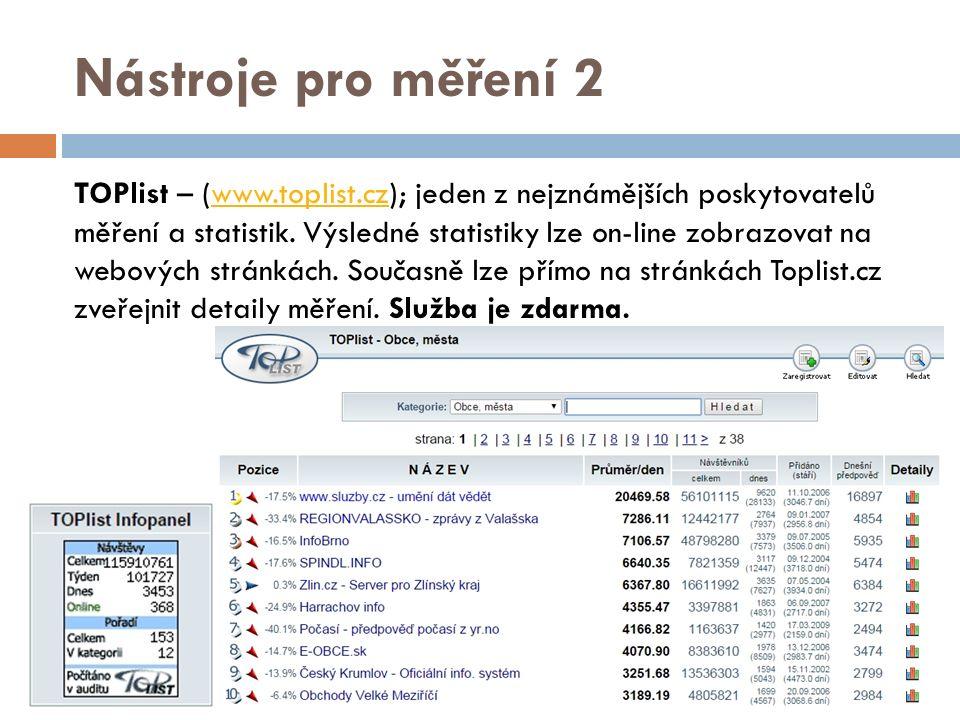 Nástroje pro měření 2 TOPlist – (www.toplist.cz); jeden z nejznámějších poskytovatelů měření a statistik.