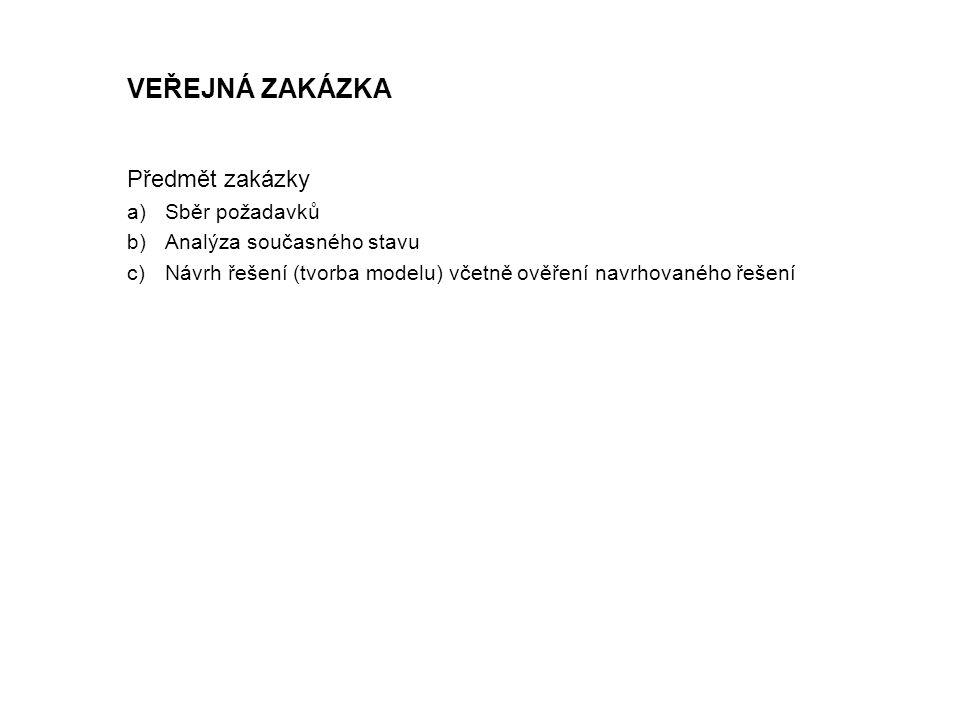 Předmět zakázky a)Sběr požadavků b)Analýza současného stavu c)Návrh řešení (tvorba modelu) včetně ověření navrhovaného řešení