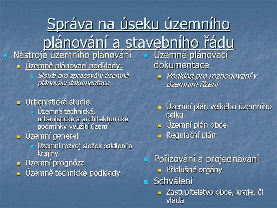 Správa na úseku územního plánování a stavebního řádu Nástroje územního plánování Nástroje územního plánování Územně plánovací podklady: Územně plánova