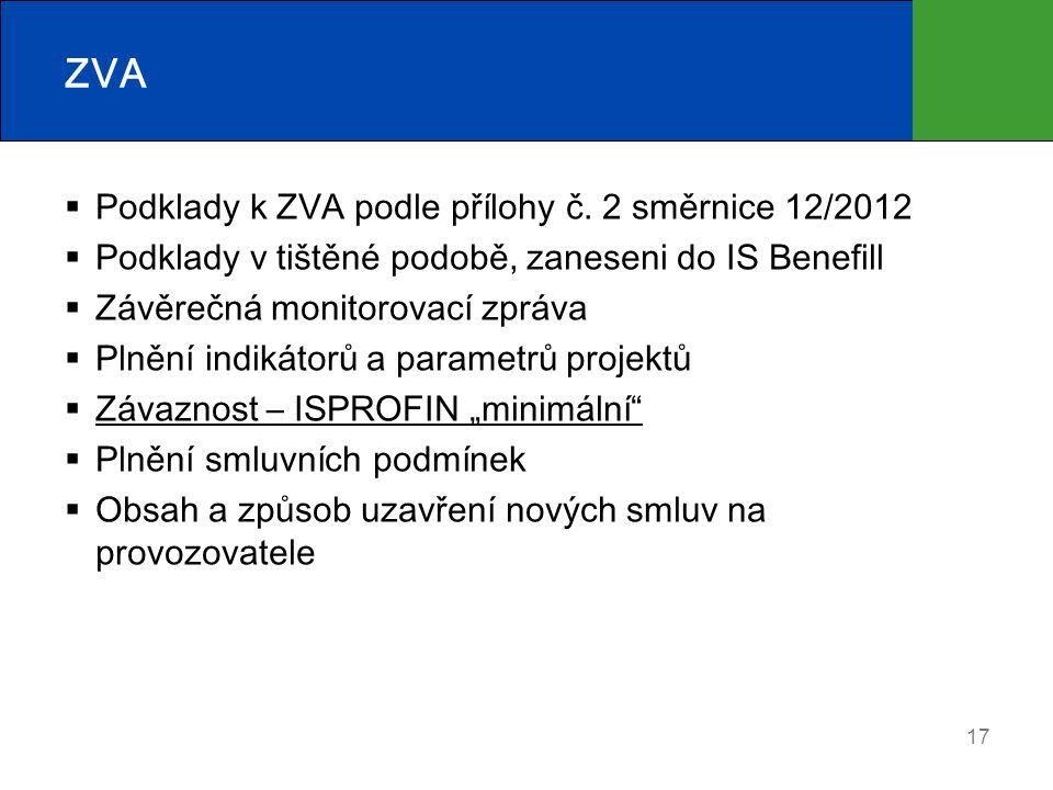 17 ZVA  Podklady k ZVA podle přílohy č. 2 směrnice 12/2012  Podklady v tištěné podobě, zaneseni do IS Benefill  Závěrečná monitorovací zpráva  Pln