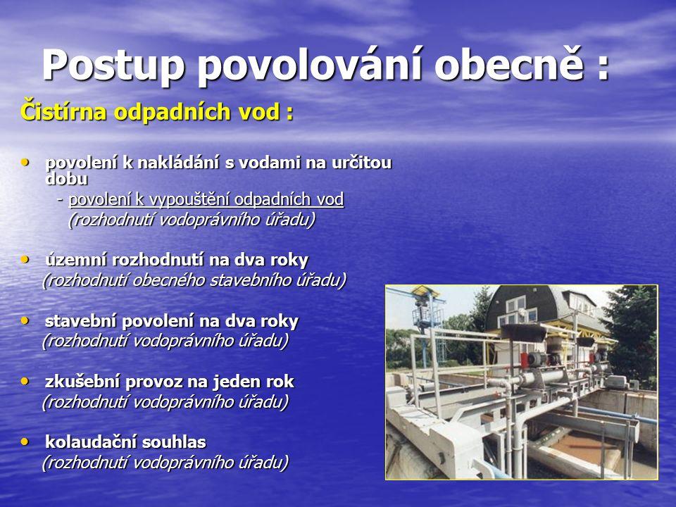 Postup povolování obecně : Čistírna odpadních vod : povolení k nakládání s vodami na určitou dobu povolení k nakládání s vodami na určitou dobu - povolení k vypouštění odpadních vod - povolení k vypouštění odpadních vod (rozhodnutí vodoprávního úřadu) (rozhodnutí vodoprávního úřadu) územní rozhodnutí na dva roky územní rozhodnutí na dva roky (rozhodnutí obecného stavebního úřadu) (rozhodnutí obecného stavebního úřadu) stavební povolení na dva roky stavební povolení na dva roky (rozhodnutí vodoprávního úřadu) (rozhodnutí vodoprávního úřadu) zkušební provoz na jeden rok zkušební provoz na jeden rok (rozhodnutí vodoprávního úřadu) (rozhodnutí vodoprávního úřadu) kolaudační souhlas kolaudační souhlas (rozhodnutí vodoprávního úřadu) (rozhodnutí vodoprávního úřadu)