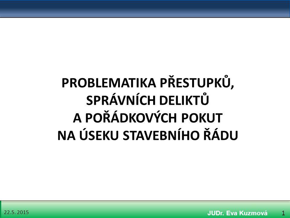 22.5. 2015 32 4. Právní úprava správních deliktů na úseku stavebního řádu