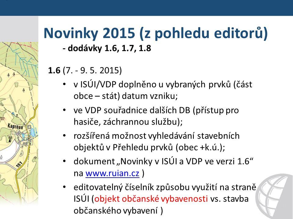 Novinky 2015 (z pohledu editorů) - dodávky 1.6, 1.7, 1.8 1.6 (7.