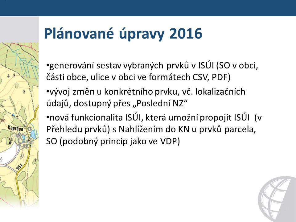 Plánované úpravy 2016 generování sestav vybraných prvků v ISÚI (SO v obci, části obce, ulice v obci ve formátech CSV, PDF) vývoj změn u konkrétního prvku, vč.
