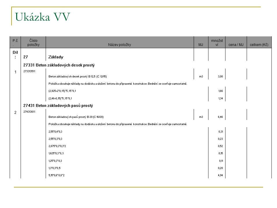 Ukázka VV P.č. Číslo položkyNázev položkyMJ množst vícena / MJcelkem (Kč) Díl :27Základy 27331 Beton základových desek prostý 1 273313511 Beton základ