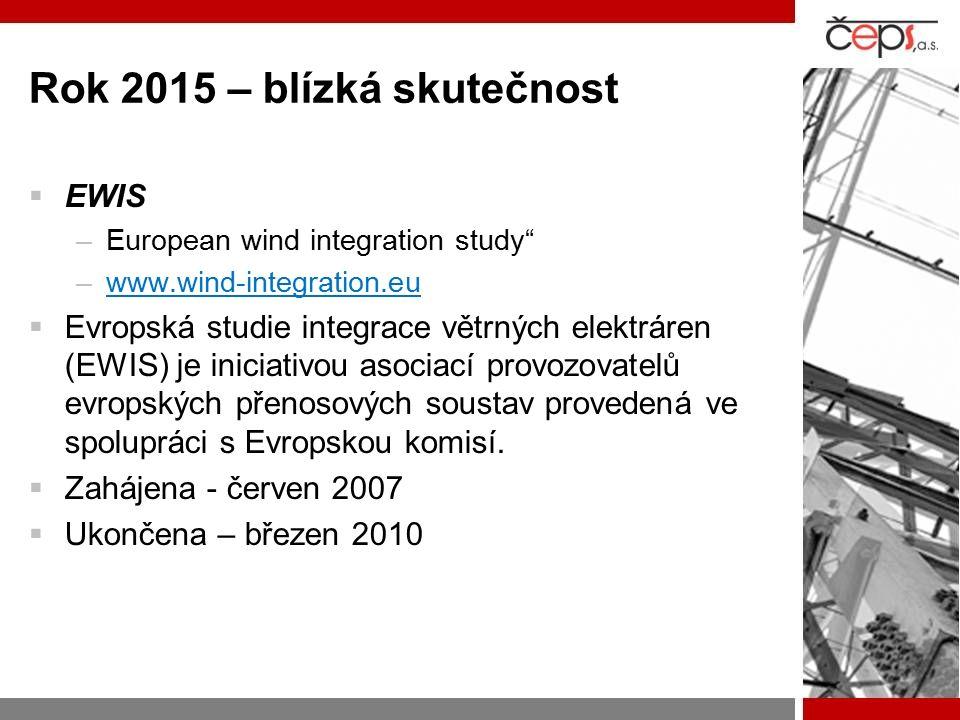 Rok 2015 – blízká skutečnost  EWIS –European wind integration study –www.wind-integration.euwww.wind-integration.eu  Evropská studie integrace větrných elektráren (EWIS) je iniciativou asociací provozovatelů evropských přenosových soustav provedená ve spolupráci s Evropskou komisí.