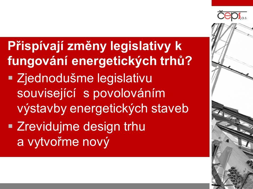 Přispívají změny legislativy k fungování energetických trhů.