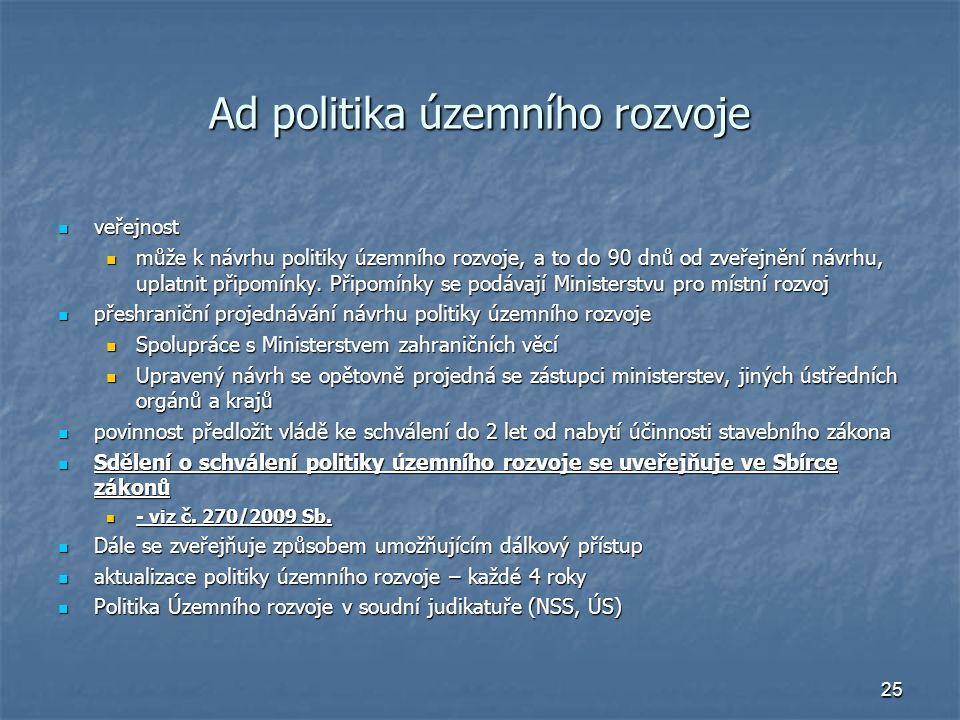 25 Ad politika územního rozvoje veřejnost veřejnost může k návrhu politiky územního rozvoje, a to do 90 dnů od zveřejnění návrhu, uplatnit připomínky.