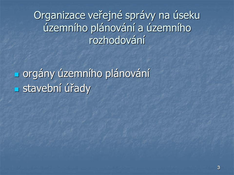 3 Organizace veřejné správy na úseku územního plánování a územního rozhodování orgány územního plánování orgány územního plánování stavební úřady stavební úřady
