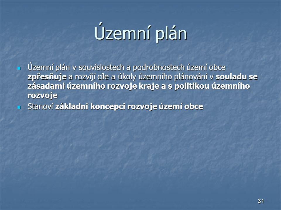 31 Územní plán Územní plán v souvislostech a podrobnostech území obce zpřesňuje a rozvíjí cíle a úkoly územního plánování v souladu se zásadami územního rozvoje kraje a s politikou územního rozvoje Územní plán v souvislostech a podrobnostech území obce zpřesňuje a rozvíjí cíle a úkoly územního plánování v souladu se zásadami územního rozvoje kraje a s politikou územního rozvoje Stanoví základní koncepci rozvoje území obce Stanoví základní koncepci rozvoje území obce