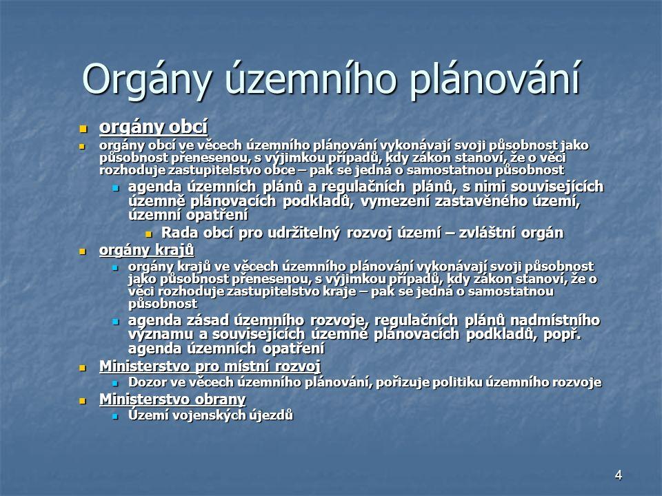 4 Orgány územního plánování orgány obcí orgány obcí orgány obcí ve věcech územního plánování vykonávají svoji působnost jako působnost přenesenou, s výjimkou případů, kdy zákon stanoví, že o věci rozhoduje zastupitelstvo obce – pak se jedná o samostatnou působnost orgány obcí ve věcech územního plánování vykonávají svoji působnost jako působnost přenesenou, s výjimkou případů, kdy zákon stanoví, že o věci rozhoduje zastupitelstvo obce – pak se jedná o samostatnou působnost agenda územních plánů a regulačních plánů, s nimi souvisejících územně plánovacích podkladů, vymezení zastavěného území, územní opatření agenda územních plánů a regulačních plánů, s nimi souvisejících územně plánovacích podkladů, vymezení zastavěného území, územní opatření Rada obcí pro udržitelný rozvoj území – zvláštní orgán Rada obcí pro udržitelný rozvoj území – zvláštní orgán orgány krajů orgány krajů orgány krajů ve věcech územního plánování vykonávají svoji působnost jako působnost přenesenou, s výjimkou případů, kdy zákon stanoví, že o věci rozhoduje zastupitelstvo kraje – pak se jedná o samostatnou působnost orgány krajů ve věcech územního plánování vykonávají svoji působnost jako působnost přenesenou, s výjimkou případů, kdy zákon stanoví, že o věci rozhoduje zastupitelstvo kraje – pak se jedná o samostatnou působnost agenda zásad územního rozvoje, regulačních plánů nadmístního významu a souvisejících územně plánovacích podkladů, popř.