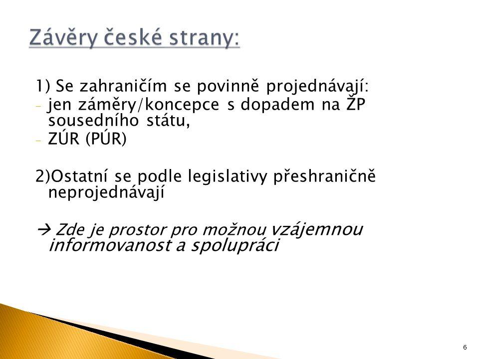 1) Se zahraničím se povinně projednávají: - jen záměry/koncepce s dopadem na ŽP sousedního státu, - ZÚR (PÚR) 2)Ostatní se podle legislativy přeshraničně neprojednávají  Zde je prostor pro možnou vzájemnou informovanost a spolupráci 6