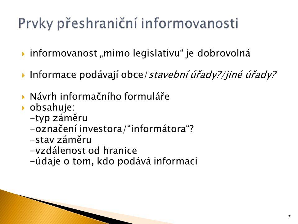 """ informovanost """"mimo legislativu"""" je dobrovolná  Informace podávají obce/stavební úřady?/jiné úřady?  Návrh informačního formuláře  obsahuje: -typ"""
