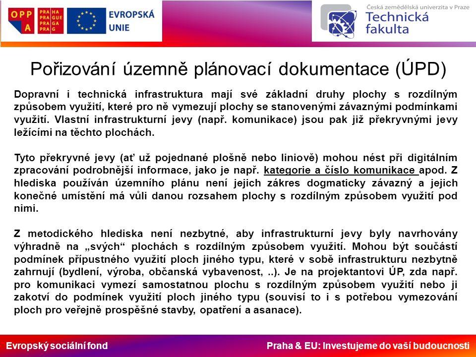 Evropský sociální fond Praha & EU: Investujeme do vaší budoucnosti Pořizování územně plánovací dokumentace (ÚPD) Dopravní i technická infrastruktura mají své základní druhy plochy s rozdílným způsobem využití, které pro ně vymezují plochy se stanovenými závaznými podmínkami využití.