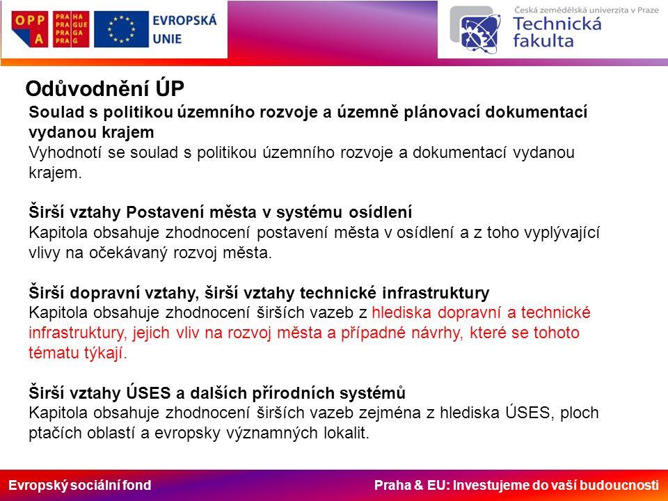 Evropský sociální fond Praha & EU: Investujeme do vaší budoucnosti Odůvodnění ÚP Soulad s politikou územního rozvoje a územně plánovací dokumentací vydanou krajem Vyhodnotí se soulad s politikou územního rozvoje a dokumentací vydanou krajem.