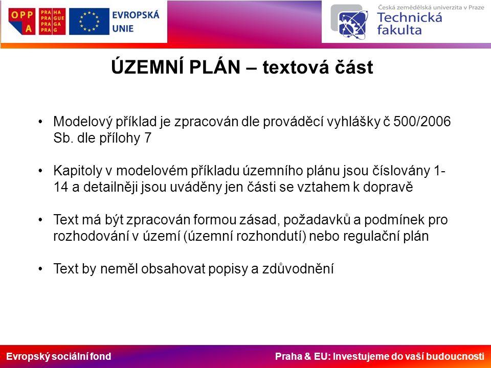 Evropský sociální fond Praha & EU: Investujeme do vaší budoucnosti ÚZEMNÍ PLÁN – textová část Modelový příklad je zpracován dle prováděcí vyhlášky č 500/2006 Sb.
