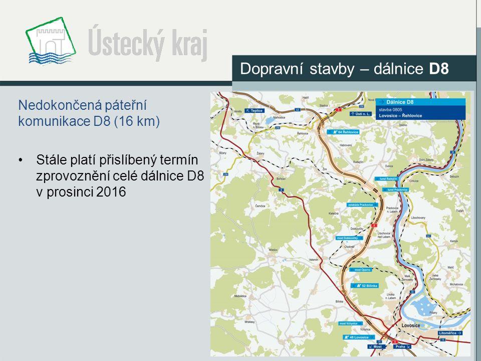 Nedokončená páteřní komunikace D8 (16 km) Stále platí přislíbený termín zprovoznění celé dálnice D8 v prosinci 2016 Dopravní stavby – dálnice D8