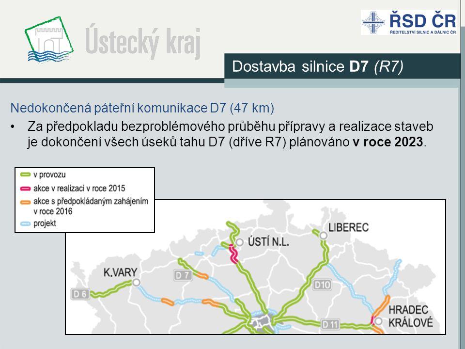 Nedokončená páteřní komunikace D7 (47 km) Za předpokladu bezproblémového průběhu přípravy a realizace staveb je dokončení všech úseků tahu D7 (dříve R7) plánováno v roce 2023.