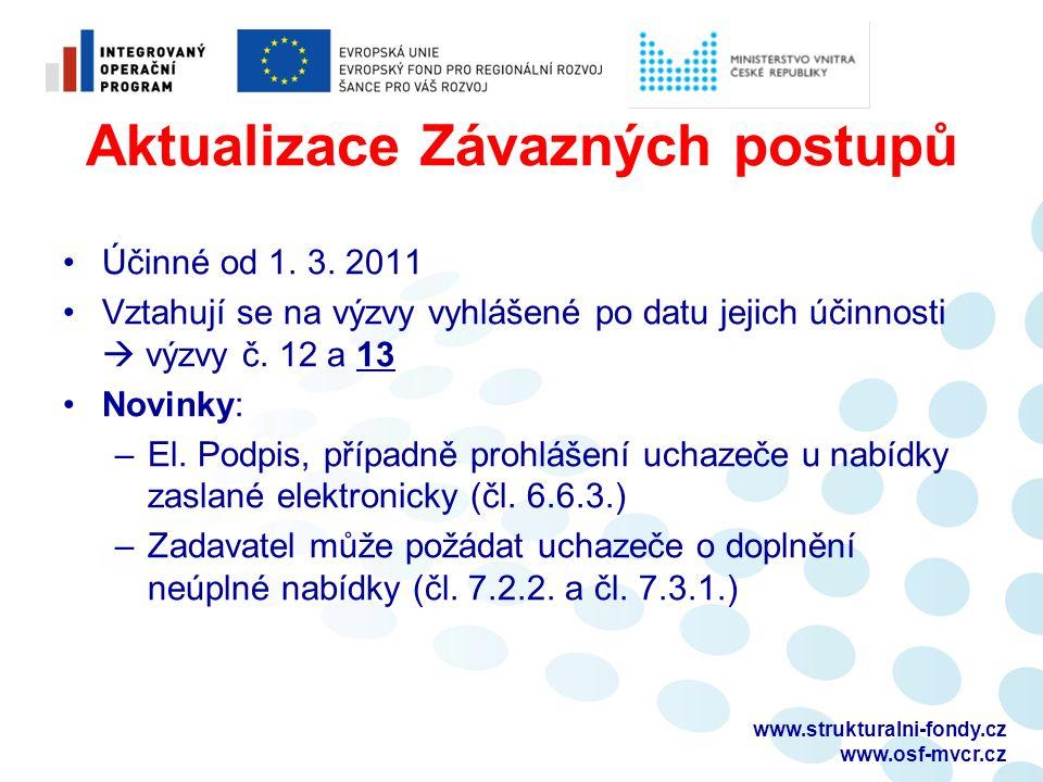 Aktualizace Závazných postupů Účinné od 1. 3. 2011 Vztahují se na výzvy vyhlášené po datu jejich účinnosti  výzvy č. 12 a 13 Novinky: –El. Podpis, př
