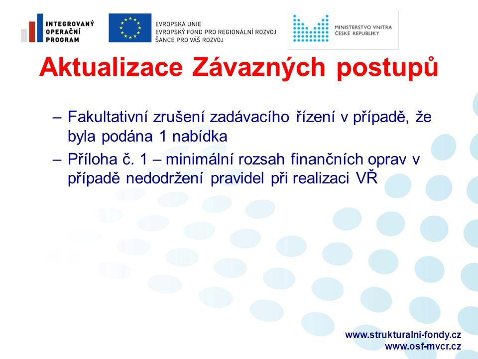Aktualizace Závazných postupů –Fakultativní zrušení zadávacího řízení v případě, že byla podána 1 nabídka –Příloha č.