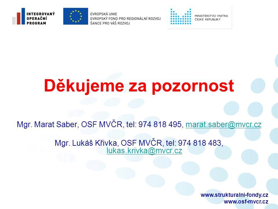 Děkujeme za pozornost Mgr. Marat Saber, OSF MVČR, tel: 974 818 495, marat.saber@mvcr.czmarat.saber@mvcr.cz Mgr. Lukáš Křivka, OSF MVČR, tel: 974 818 4